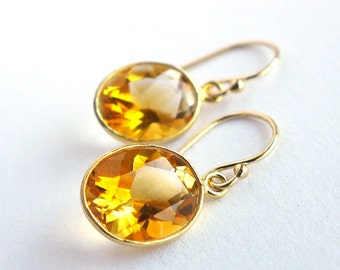 12mm Natural Yellow Oval Citrine Gold Bezel Gold Filled Earrings JD26