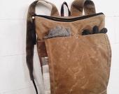 Waxed Canvas Backpack / Rucksack Tan Waxed Canvas / Zip Top