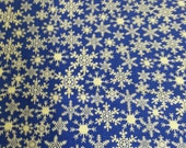 Sapphire Blue with White Snowflakes Standard Cotton Handmade Pillowcase Arvilla RubyTM