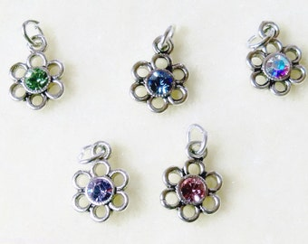Swarovski Crystal Rhinestone Flower Charms Silver Plated Assorted Colors 5 pcs 8mm by 8mm Drops