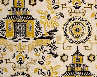"""Two 96"""" x 50""""  Custom LINED Curtain Panels  -   Richloom Teahouse Canary - Toile Chinoiserie - Yellow/"""