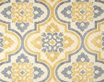 Two 26 x 26 Designer Custom Decorative Pillow Covers   Euro - Waverly Quilted Damask Tile Geometric -  Grey/Yellow Gold