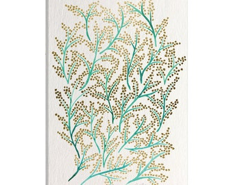 iCanvas Green Gold Branches Artprint Gallery Wrapped Canvas Art Print by Cat Coquillette