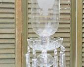 Vintage Crystal Hurricane Lamp / Prism Crystals - Etched Eagle Hurricane