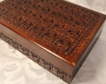 Hand Carved Wood Box - Poland - Vintage Decorative Wood Box