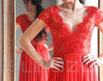 Red Maxi Open Back Low Cut Neckline Lace and Silk Evening Ball Prom Wedding Gown