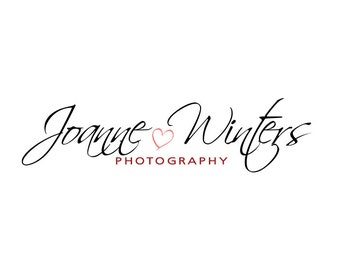 Signature Photography Logo and Watermark - Premade Logo Design, Customizable Script Heart