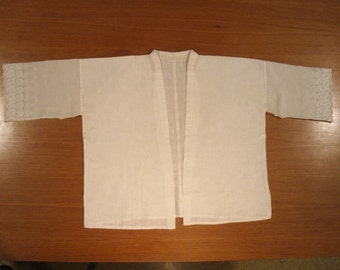Antique Toddler Girl's Japanese Kimono Han-juban Undergarment - White Cotton / Linen Eyelet.