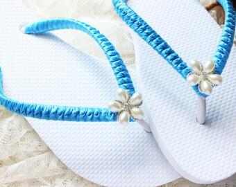 Turquoise blue wedding sandals, bridal flip flops, beach wedding shoes, destination wedding flip flops, honeymoon gift, bachelorette party