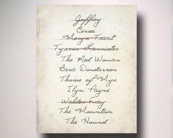 Game of Thrones Poster / Arya Stark Kill List / Poster / Wall Art / TV Poster