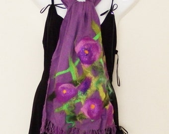 Viscose scarf, nunofelted wrap, purple, felted shawl, lilac, floral, wedding, graduation gift, for her, wearable art, unique,summer clothing
