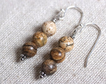 Picture Jasper Ombre Stack Earrings - Earthy & Organic