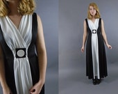 1970s Color Block Mod Maxi Dress Black White Medium Large