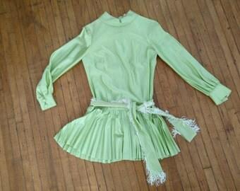 XS Small 1960s Micro Mini Dress Light Green Pleated Skirt Fringe Belt Go Go 1970s