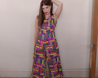 Vintage 1970s Neon Geometric Floral Print Palazzo Jumpsuit by Guadalupe Hawaii