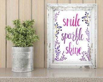 Smile Sparkle Shine Digital Print, Typography Print, Instant Digital Download Print, Print, 8x10 Digital Print, INSTANT DOWNLOAD