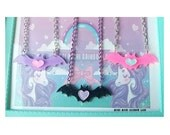 Pastel Goth Heart Glitter Bat Acrylic Necklace or Bracelet