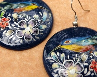 Navy Round Lacquer handpainted Earrings