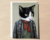 Mooch - Greeting Card - Blank Inside - Cats In Clothes