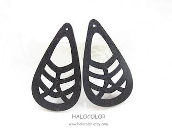 Dyeing Series - 6 PCS 31x 55mm Variety of Colors Filigree Tear Shape Geometrical Wood Dangle/ Wood Charm/Pendant NM15