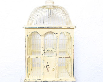 Vintage Bright Yellow Painted Small Birdcage, Perfect for Shabby Chic Home Decor