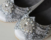 Gatsby Bridal Ballet Flats Wedding Shoes - All Full Sizes - Pick your own shoe color and crystal color