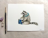 ORIGINAL // Critters and Cards: Raccoon // Watercolor and Pen