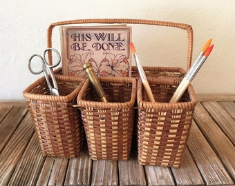 Vintage Basket Tote Art Store Utensil Holder