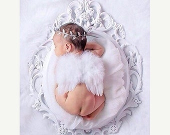SALE 25% OFF - Angel Wings, White Feather Baby Wings &/or Silver Foil Leaf Headband for newborn photos, bebe foto, prop, photographers, Lil