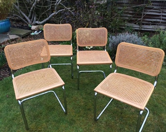 DEPOSIT PAID Lizzie U ** Four vintage Marcel Breur Cesca chairs, made in Italy