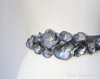 Gray Wedding Sash/ Bridal Ribbon Sash/ Bridesmaids Sash/ Handmade Accessory