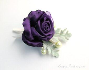 Purple Rose Boutonniere/ Men's Wedding Boutonniere/ Lapel Pin/ Handmade Accessory