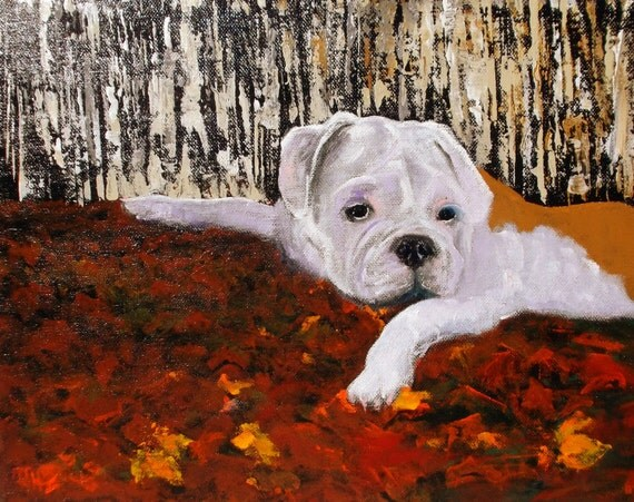 English Bulldog Art PaintingColors Of AutumnOil