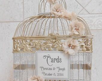 Large Bling Champagne Gold Wedding Birdcage Card Holder / Wedding Card Box / Wedding Card Holder / Bling Wedding Decor / Custom Card Box