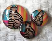 Cat cabochons-matching set-cat pendant-cat earrings-jewelry set-earrings and Pendant