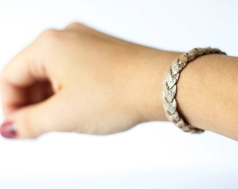 Braided Leather Bracelet / Silver Lining