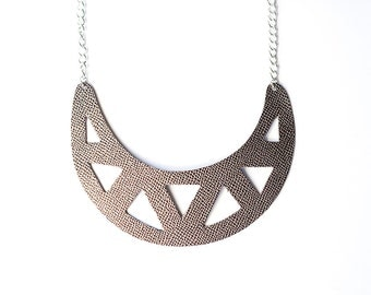 Leather Necklace / Statement / Graphite