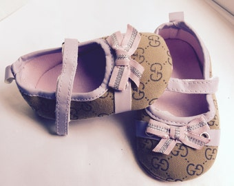 Baby Girl  crib shoes , brown baby shoes ,