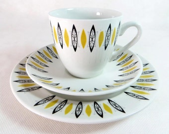SALE! Mid Century Trio,Barker Bros Atomic Black Yellow Cup, Teaplate & Saucer Set, 1950s - up to 6 available