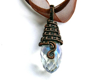 Glass Pendant, Crystal Glass Necklace, Wire woven Jewellery, Wire weave necklace, Copper Wirework, Copper Jewelry, Teardrop glass pendant,