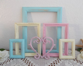 Pastel Picture Frame Set Gallery Heart Collection Shabby Chic Country Cottage Baby Nursery Toddler Bedroom Home Spring Summer Wedding Decor