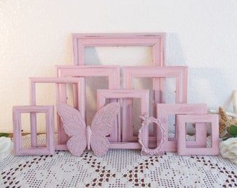 Pink Frame Set Rustic Shabby Chic Distressed Picture Photo Wall Gallery Collection French Country Farmhouse Paris Baby Nursery Home Decor