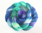 SW Merino / Silk Wool Top (Roving) - Spinning Fibre 3.2 oz. - Peacock Feathers