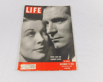 Vintage December 17, 1951 Life Magazine Vivian Leigh and Laurence Olivier
