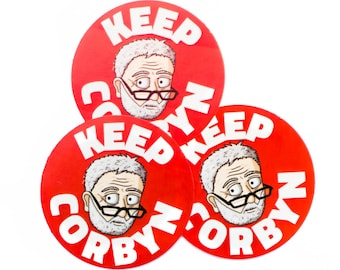 Three DoodleCorbyn stickers