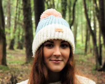 Knitted Hat / ALPACA / bobble hat / Ski Hat / Seamless / Beanie / winter hat / hand knitted / Hats / present for her / winter accessories
