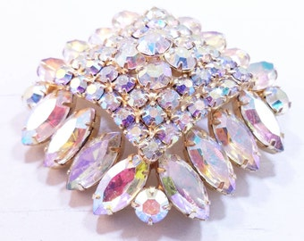 Aurora Borealis Pin Rainbow Colors Rhinestone Brooch 1950's Jewelry
