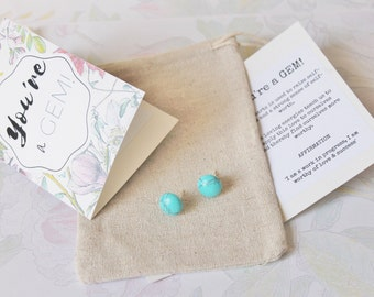 You're a Gem - Turquoise Studs Gemstone Stud Earrings