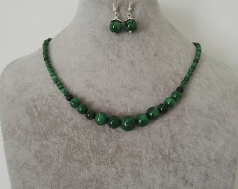 jewelry set- 4-12 mm green jade necklace earring set, free shipping