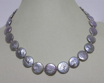Free shipping- coin pearl necklace, 12mm gray coin pearl necklace